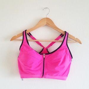 Victoria's Secret hot pink zipper sports bra